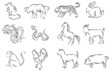 Professional brush painting set of Chinese twelve zodiac signs (