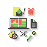Business, Home, Office - Flat Icon Design Set