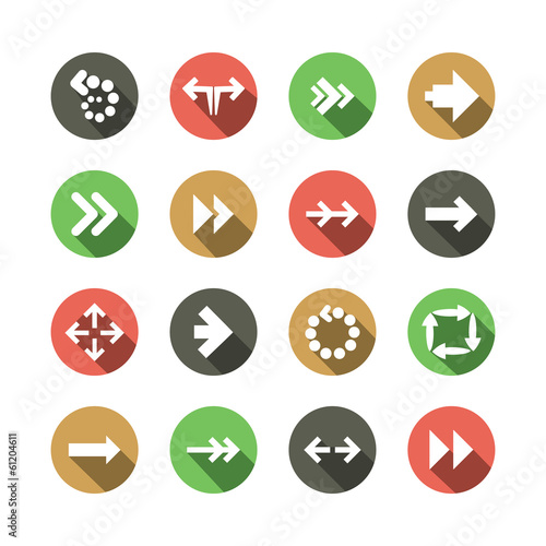 Set of Flat Arrow Icon Designs