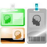 Human brain. Vector id cards.
