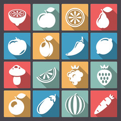 set of sixteen vegetables icons in flat design