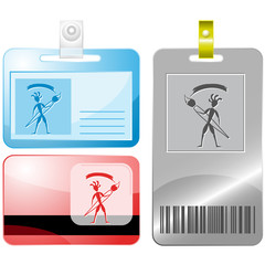 Ethnic little man with brush. Vector id cards.