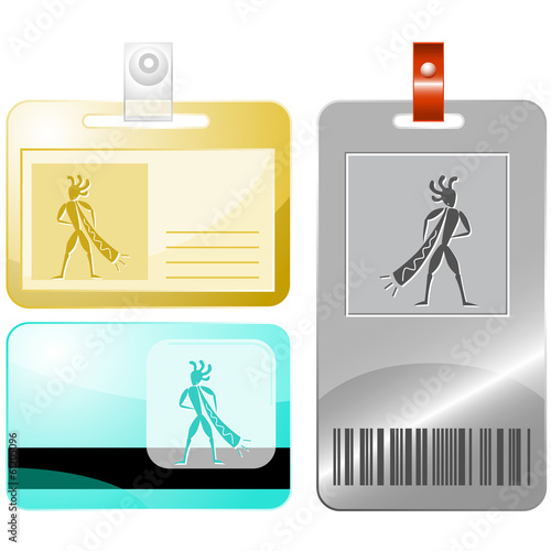 Ethnic little man with trumpet. Vector id cards.