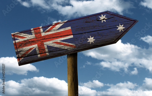 Wooden Australian sign on a wonderful day