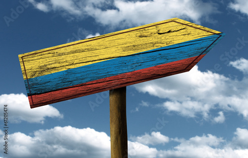 Wooden Colombian sign on a wonderful day