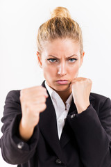 Angry Businesswoman boxing punching