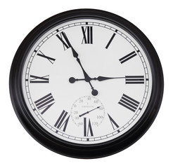 black wall vintage clock isolated