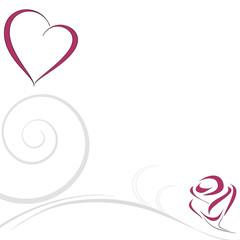 sfondo decorato cuore  e rosa