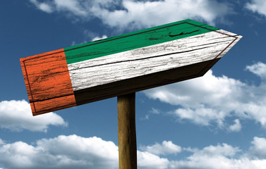 UAE flag wooden sign with a beautiful sky on background