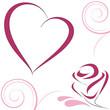 Obrazy na płótnie, fototapety, zdjęcia, fotoobrazy drukowane : Cuore e rosa stilizzati