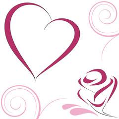 Cuore e rosa stilizzati