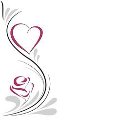 cuore e rosa decorazione