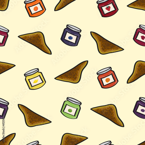 Seamless background tile with cartoon toast and pots of jam