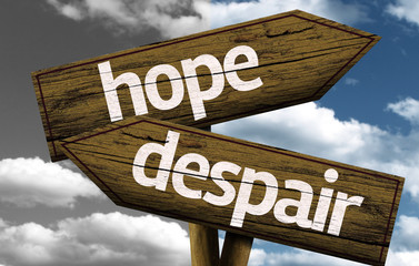 Hope x Despair creative sign with clouds as the background