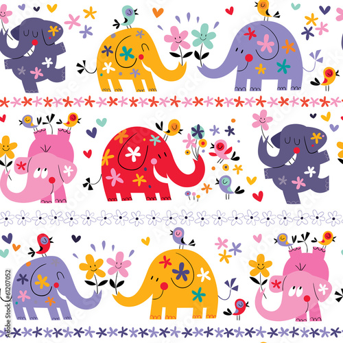 cute elephants seamless pattern