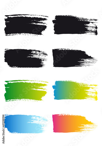 paint brush stroke frames, vector set