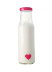 Bottle of milk with red heart