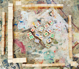 top view of playing field mahjong board game