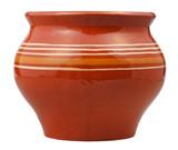 side view of open earthenware pot