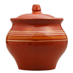 side view of closed earthenware pot