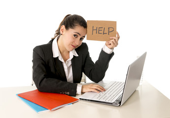 busy business woman working on her laptop help sign