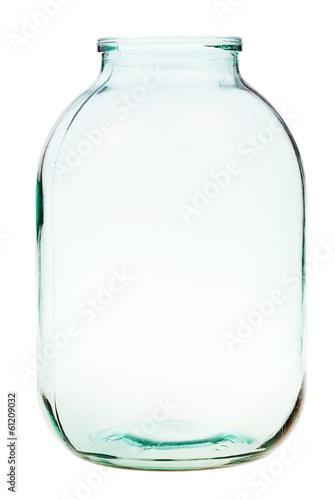 three-liter open glass jar isolated - 61209032