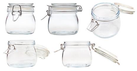 set of small Swingtop Bale glass jar on white
