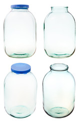 set of three-liter glass jar isolated
