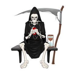 The death sitting on a bench.