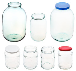 set of different size glass jars isolated