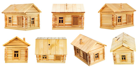 views of village wooden log house