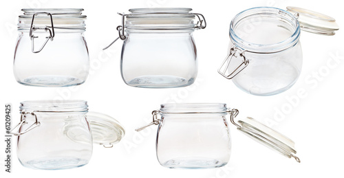 set of small Swingtop Bale glass jar on white