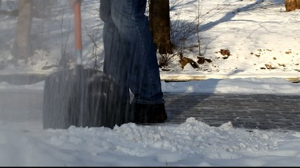 Man with a snow shovel in winter episode 3