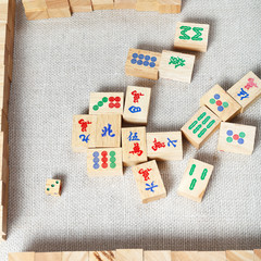 top view of mahjong desk game