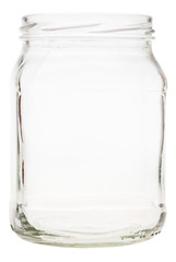 side view of open victorian square glass jar