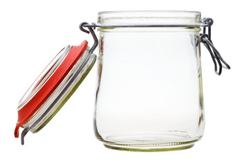 open Swingtop Bale glass jar isolated on white