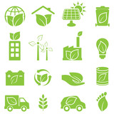 Green eco and environment icons
