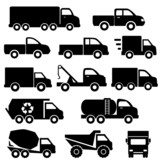 Trucks icon set poster