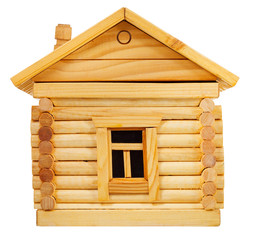 side view of wooden log house