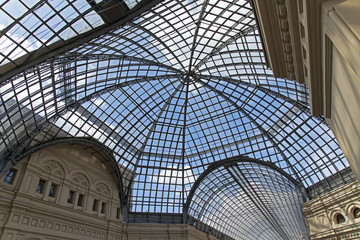 Moscow, Russia . Glass roof salesroom store GUM