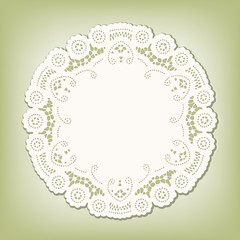 Lace Doily Place Mat, vintage pattern, copy space. pastel green