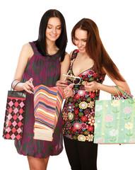 women in a shopping center.