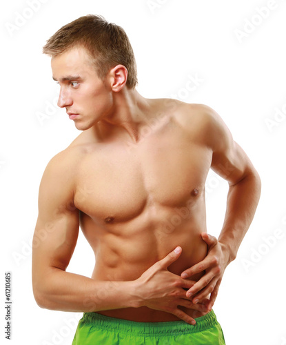 Young man with belly-aches isolated on white background.
