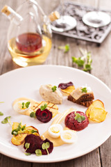 Gourmet salad with beet and herring