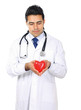 Male doctor with stethoscope holding heart