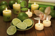 spa composition with lime  fruit and candle