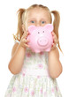 The little girl with a money box - a pig. It is