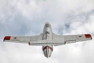 training  jet  aircraft Aero L-29 Delfin rear view from above