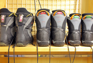 Old snowboard boots at ski rental