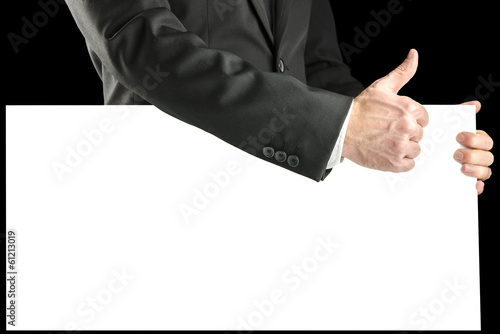 Businessmen with a blank sign giving a thumbs up